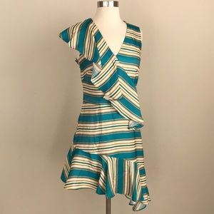 Nicole Miller Striped & Ruffled Dress